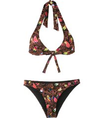amir slama printed triangle bikini set - black