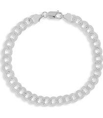 saks fifth avenue men's 14k white gold curb link bracelet/6.7mm