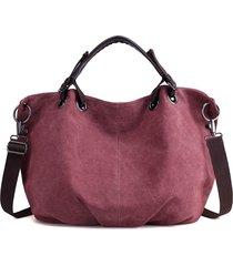 donna retro borsa a mano con tracolla in tela portabile con grande capacità in colore a tinta unita