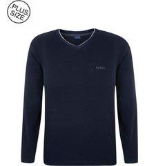 suéter plus size tricot navy gola v - kanui