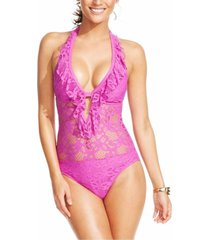 kenneth cole one piece sz s orchid purple swimsuit crochet net halter  rs5le12