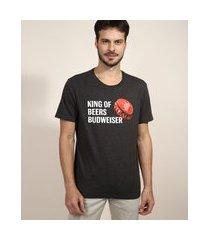 "camiseta masculina budweiser king of beers"" manga curta gola careca cinza mescla escuro"""