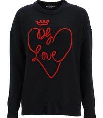 dolce & gabbana hand embroidered dg love sweater