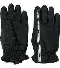 dsquared2 logo stripe gloves - black
