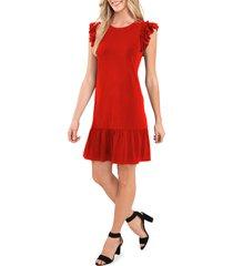 cece flutter sleeve cotton blend knit dress, size medium in coral sunset at nordstrom