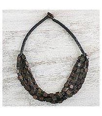wood beaded necklace, 'earthy geometry' (thailand)