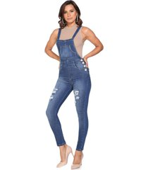 macacão jeans lúcia figueredo skinny azul