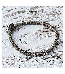 silver accented wristband bracelet, 'good living' (thailand)