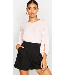 bow sleeve woven blouse, blush