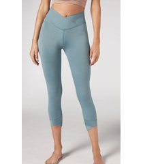 calzedonia 7/8 active leggings woman green size s
