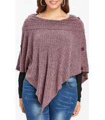 plus size ribbed buttons knit cape with t-shirt