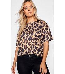 plus oversized luipaardprint t-shirt, brown