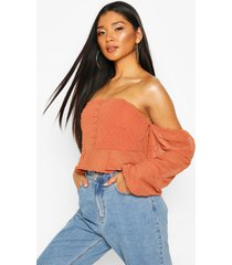 dobby spot off shoulder long sleeve crop top, rust