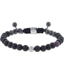 ruby and onyx bead bracelet