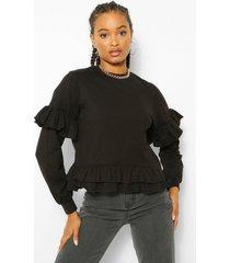sweater met dubbele franjeszoom, black
