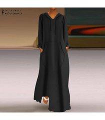 zanzea de mujeres longitud de manga larga sudaderas con capucha vestido maxi largo del vestido de la camiseta completa -negro