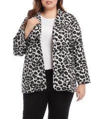 plus size women's karen kane animal jacquard blazer, size 1x - white