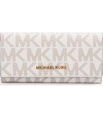 michael kors vanilla signature monogram jet set large carryall wallet nwt