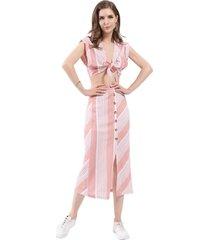 conjunto top y falda rayas rosa nicopoly