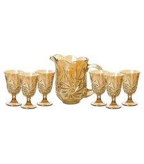 conjunto jarra e taças lyor 7740 prima 7 peças cristal âmbar