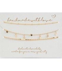 women's handmade for you heart bracelet set in gold by francesca's - size: one size