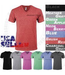 tri blend v-neck t-shirt short sleeve slim casual fashion fit tee tops s-2x mens