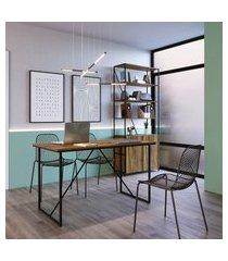 mesa office + estante industrial 2 portas trevalla preto/amadeirado