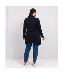 casaqueto com pontas curve e plus size preto