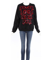 christopher kane black red floral lace embroidery sweater black, red sz: m