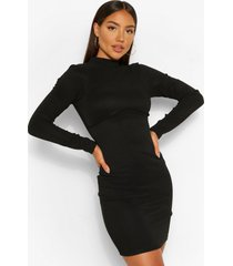 bandage rib high neck long sleeve mini dress, black