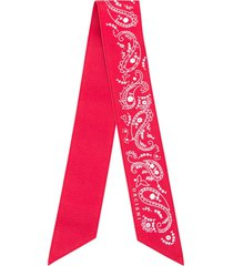 orciani thin leather scarf - red