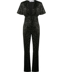 amen deep v-neck jumpsuit - black