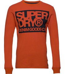 denim goods co print ls tee t-shirts long-sleeved orange superdry