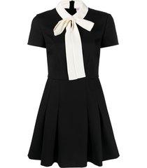 red valentino tie-neck flared mini dress - black