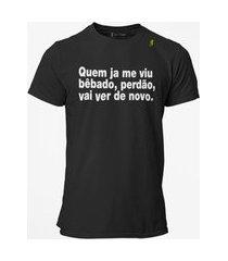 camiseta t-shirt jon cotre frase bêbado - preto