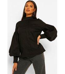 blouse met hoge kraag en volle mouwen, black