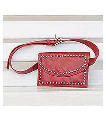 leather waist bag, 'studded claret' (brazil)