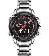 reloj naviforce análogo digital nf9050m acero inoxidable - plateado rojo
