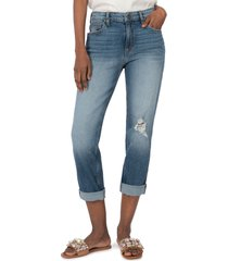 women's kut from the kloth rachel high waist roll cuff cropped mom jeans, size 0 - blue
