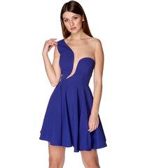 sukienka z asymetrycznym dekoltem kobaltowa