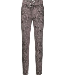 just cavalli belted high-rise skinny jeans - purple
