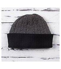 100% alpaca hat, 'warm braids in smoke' (peru)