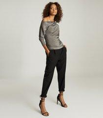 reiss isla - metallic asymmetric top in charcoal, womens, size xl