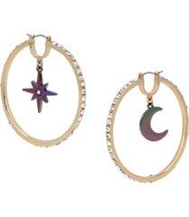 betsey johnson celestial charm hoop earrings