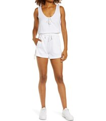 blanc noir lace-up romper, size x-small in white at nordstrom