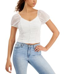 crave fame juniors' ruched mesh top