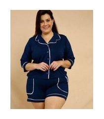 pijama plus size feminino botões manga 3/4