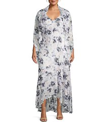 plus floral cape-sleeve maxi dress & shawl