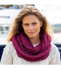 womens raspberry marl aran infinity scarf