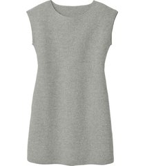walkstof jurk met korte mouwen, lichtgrijs 38